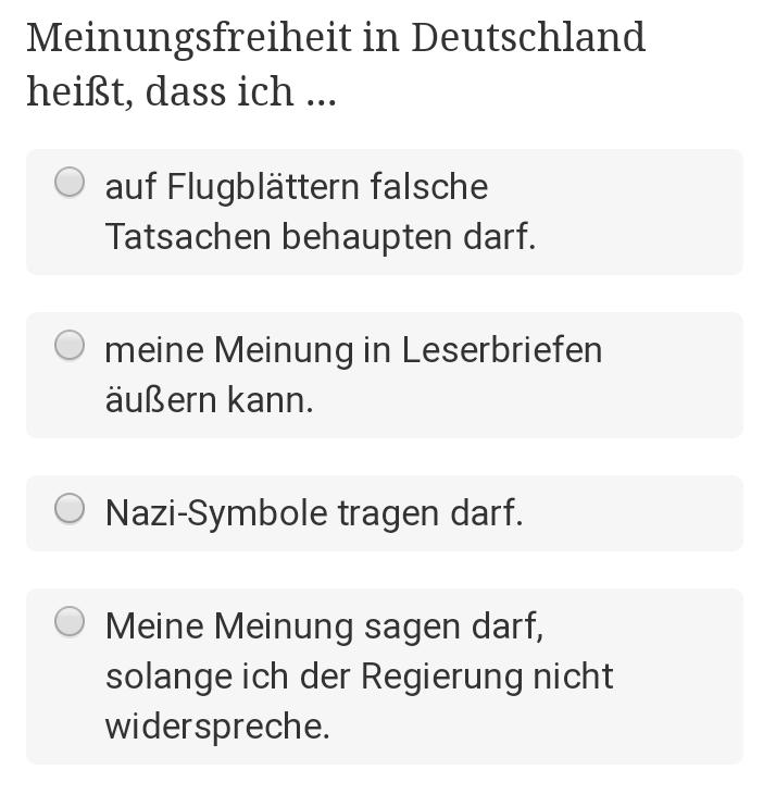 Aus dem Fragenkatalog des deutschen Einbürgerungstest